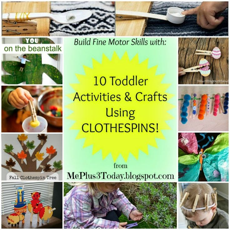 Build fine motor skills with 10 Toddler Activities and Crafts using Clothespins! -