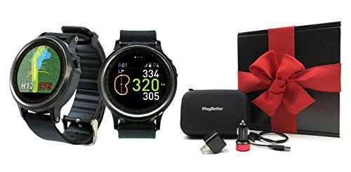 Golf Buddy WTX Golf Smartwatch Gift Box Bundle   Includes Golf GPS Smartwatch, PlayBetter USB Car & Wall Charging Adapters, Hard Protective Case   Black Gift Box, Red Bow