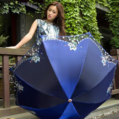 High quality Women Lady Lace Flowers Anti UV Parasol Folding umbrella 5Color in Clothing, Shoes & Accessories, Women's Accessories, Umbrellas   eBay