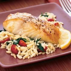 Baked Halibut With Orzo, Spinach, And Cherry Tomatoes (via www.foodily.com/r/2ahSxvl46)
