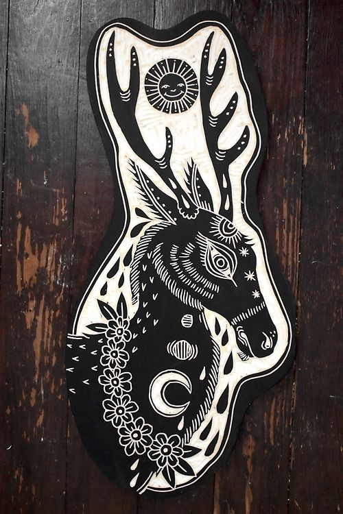 Deer, Flowers and Sun. 2013; Woodcut by Bryn Perrott