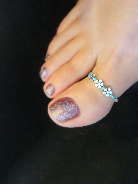 Big Toe Ring  Silver Daisies  Turquoise Silver Stretch Bead Toe Ring  by FancyFeetBoutique, $8.75