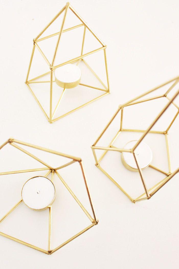 DIY Metallic Geometric Candle Holders #crafts #homedecor