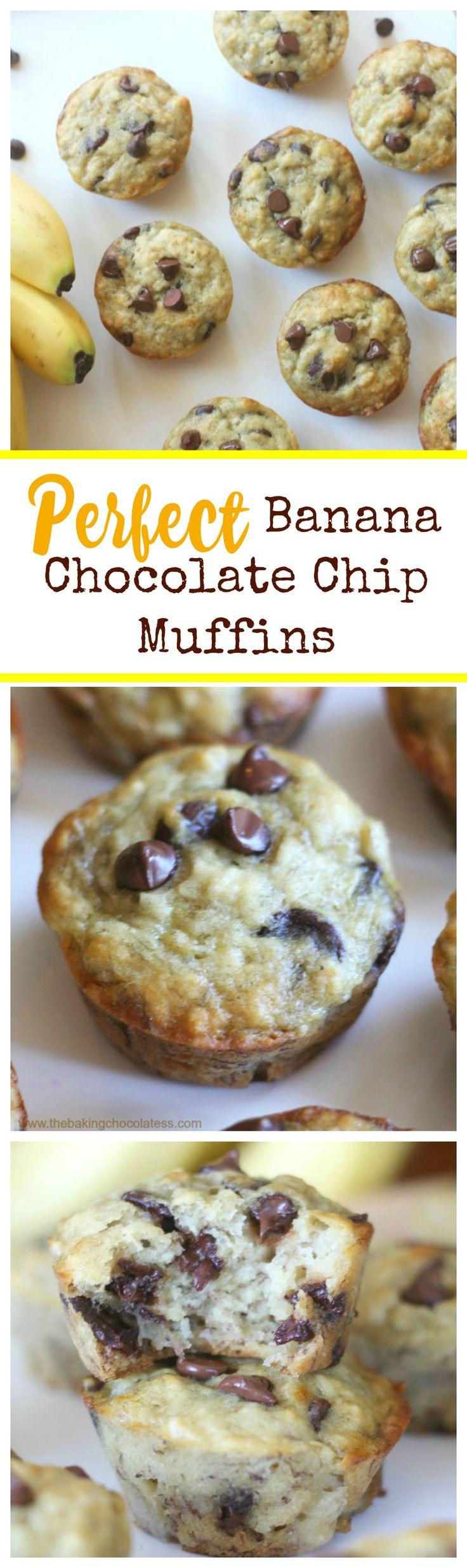 Perfect Banana Chocolate Chip Muffins!  Fluffy & Moist! via @https://www.pinterest.com/BaknChocolaTess/