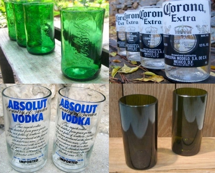 Make your own glasses from your favorite bottles! Soak heavy yarn in acetone, then wrap the yarn around the bottle where you want to cut it 5-6 times. Light it on fire until you hear it crack, then run under cool not cold water. Sand down the rim with fine grit sandpaper ensuring it is smooth enough to drink from.