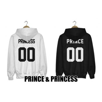 Bluzy z kapturem dla par zakochanych komplet 2 szt PRINCE & PRINCESS + NUMER