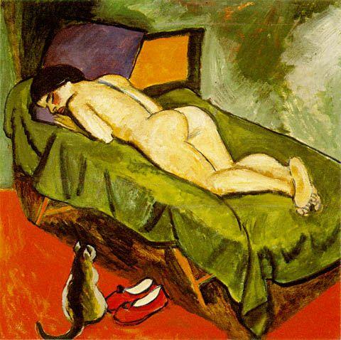 Sleeping Nude and Cat: Max Pechstein  (German, 1881-1955)