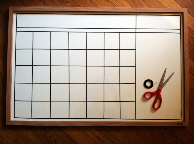 DIY calendar on a whiteboard