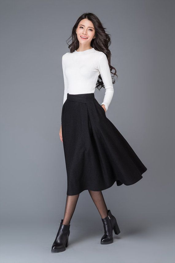 Pleated Skirt / Wool Skirt / Vintage Midi Skirt / Skirt by YL1dress – # Skirt # SkirtVi …