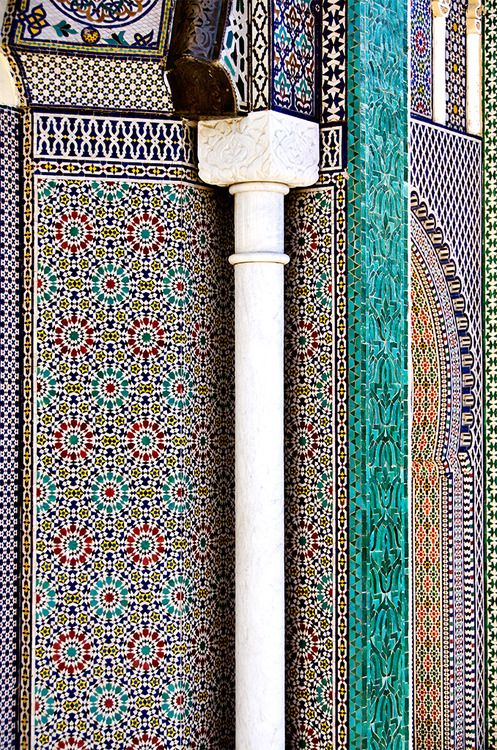 Mosaics, gates of the Imperial Palace, Fes, Morocco