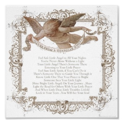 Baby Angel Prayer from the guardian angel print to hang in child's room