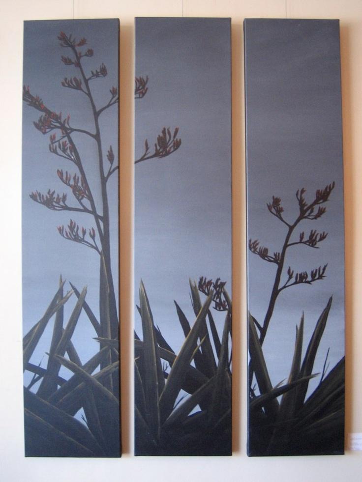 Flax Flower Triptych    by Linda McFetridge  Acrylic on Canvas
