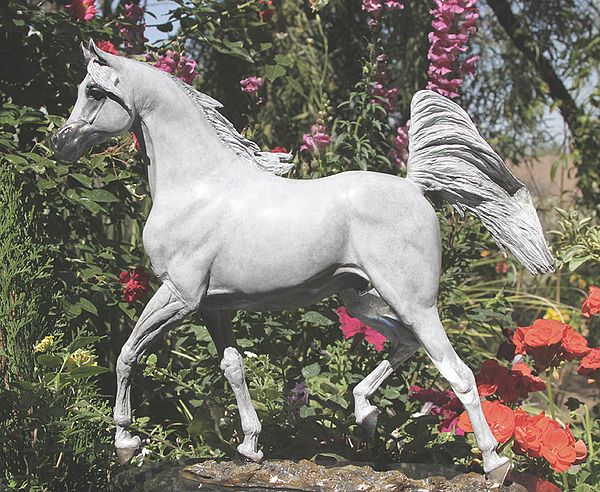 Arabian stallion bronze statue.