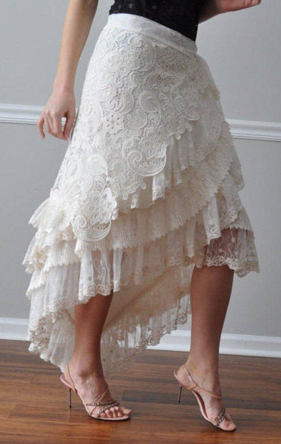 93fce47905d7 WRAP SKIRT - Ivory Venice Lace Tulle Wrap Ruffled Skirt, Steampunk,  Bohemian, Gypsy, Belly Dance, We