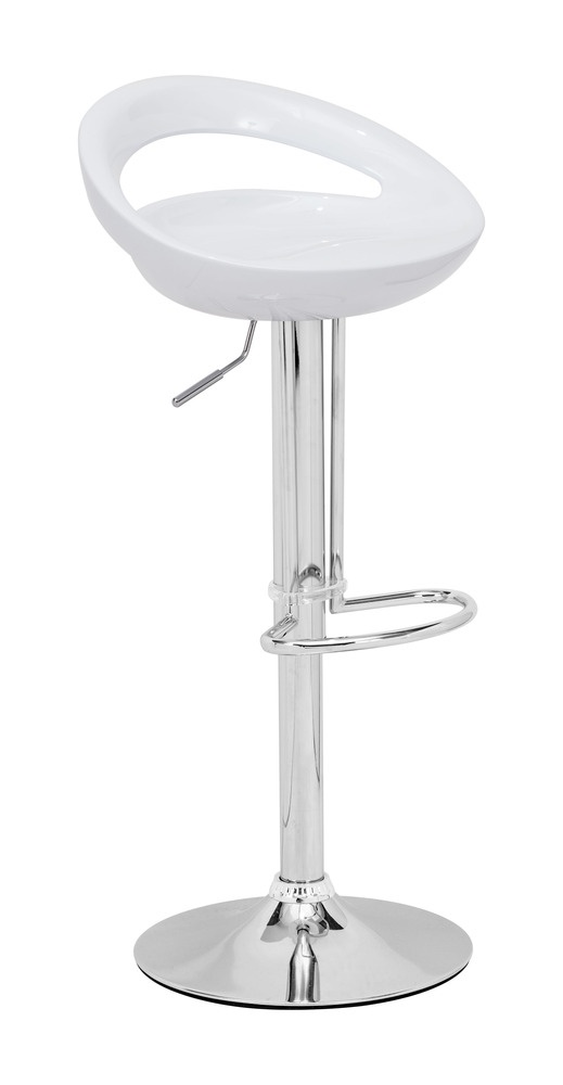 Smiling and laughing, the Tickle barstool has a sculpted ergonomic seat made of ABS plastic - Zuo Modern