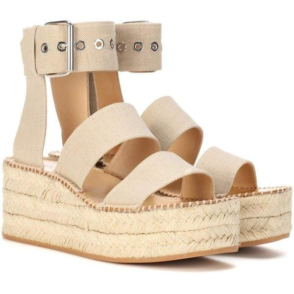 Rag & Bone Tara Platform Espadrille Sandal ($480) ❤ liked on Polyvore featuring shoes, sandals, beige, platform espadrilles, beige shoes, beige sandals, platform sandals and beige espadrilles