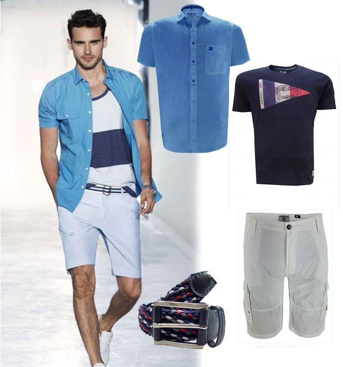 Zomerse outfit herenkleding grote maten. Witte shorts met printed T-shirt en een blauw overhemd korte mouw los erover heen.