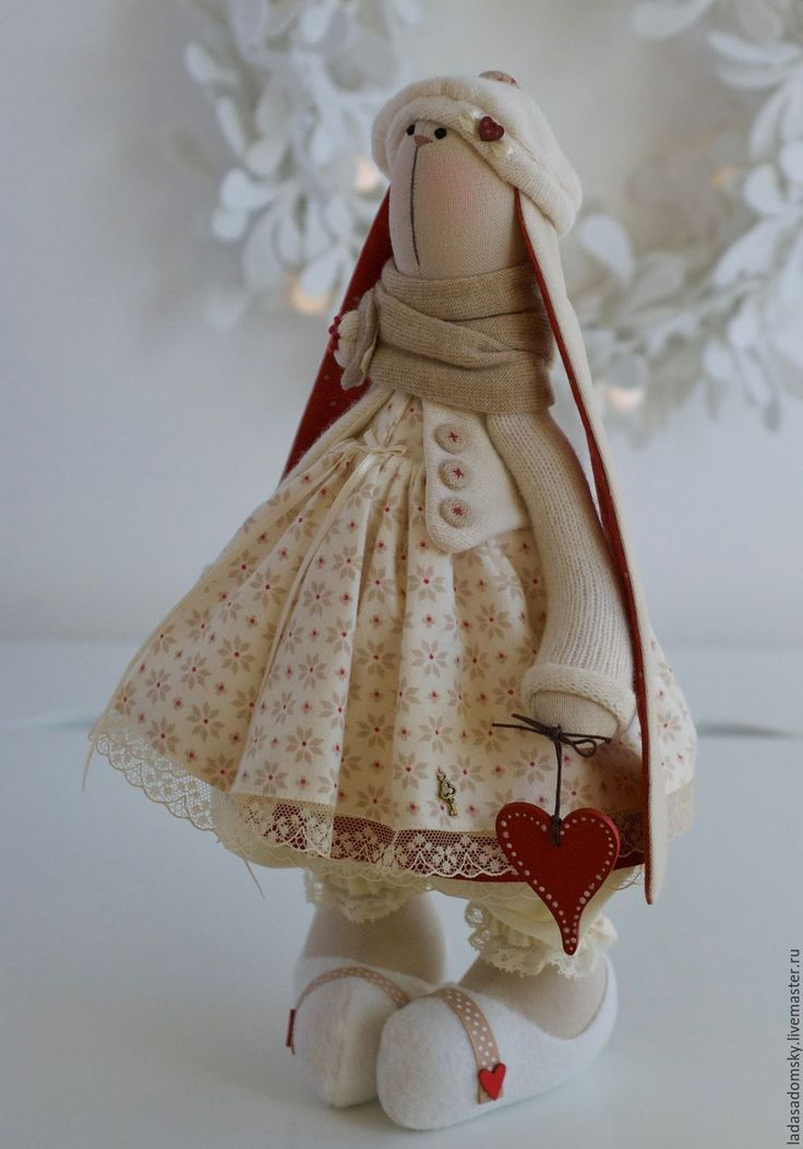 Купить Зайка новогодняя Корнелия ( Сornelia) - текстильная игрушка 38 см - бежевый, зайчик