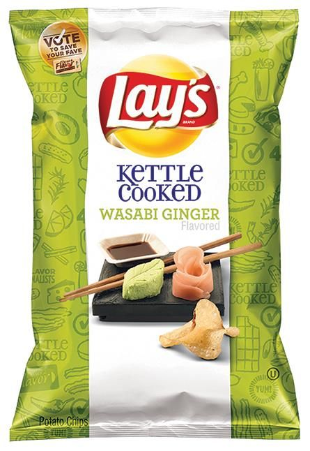 """Hope you like snacks that pack a little heat, because the newest addition to the pantheon of Lay's potato chip flavors is… Wasabi Ginger! The entry to the brand's annual """"Do Us a Flavor"""" contest beat out Mango Salsa, Cheddar Bacon Mac & Cheese, and—likely much to the relief of coffee expert Oliver Strand and Yahoo Readers everywhere—Cappuccino. Here's what its creator had to tell us about the idea behind it."""