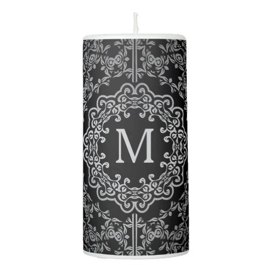 Monogram Black & Silver Filigree Motif Candle
