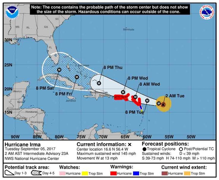 Wirbelsturm Irma erreicht zweithöchste Hurrikan-Stufe