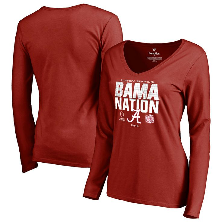 Alabama Crimson Tide Fanatics Branded Women's College Football Playoff 2016 Peach Bowl Bound Nation Long Sleeve T-Shirt - Crimson - $27.99