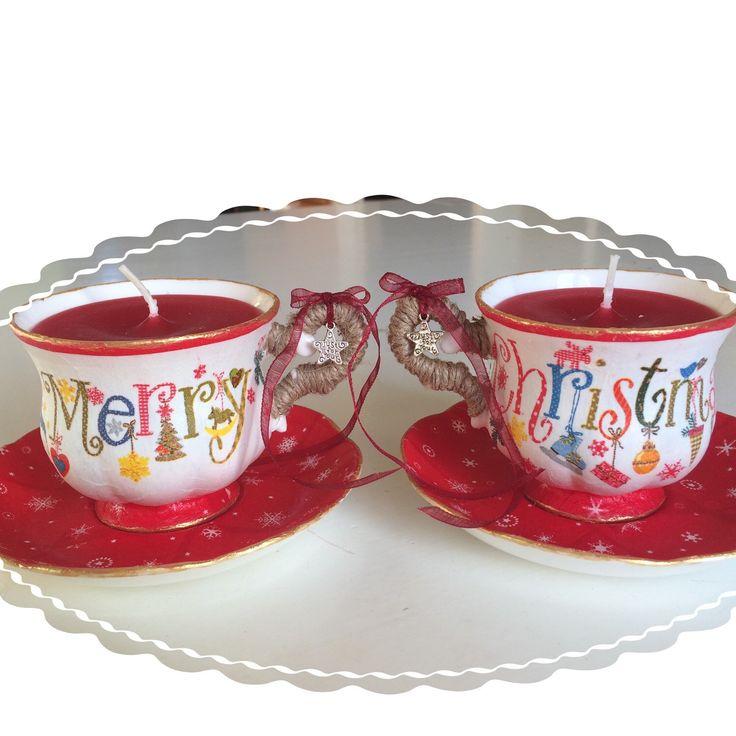 Vrolijke kaarsen in koffiekopje/theekopje in kerstsfeer! 100 % handgemaakt!