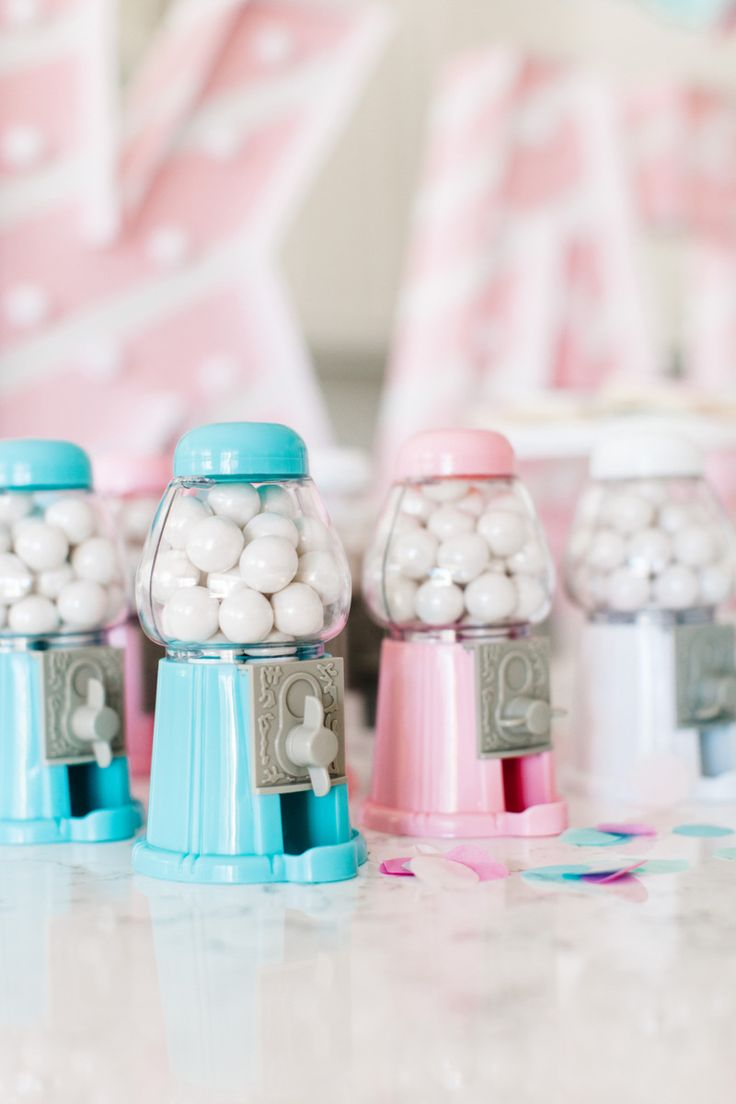 The TomKat Studio | Blog: Kate's Cotton Candy Party - Mini Gumball Machines available in our Shop!