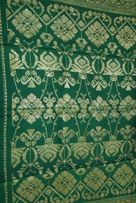 Old Metallic Gold Emerald Green Embroidery Brocade Damask Songket Lotus