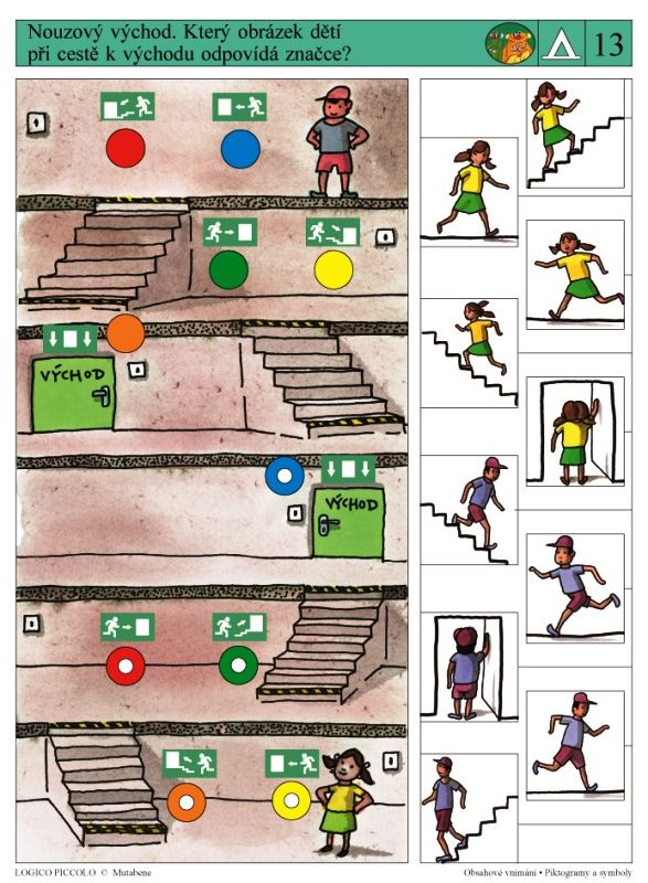Soubor Logico Piccolo - Obsahové vnímání Piktogramy a symboly Určeno dětem od 5 - 8 let Soubor obsahuje 16 různých karet Karty obsahují tyto úkoly: * Zjednodušený obrázek – piktogram –