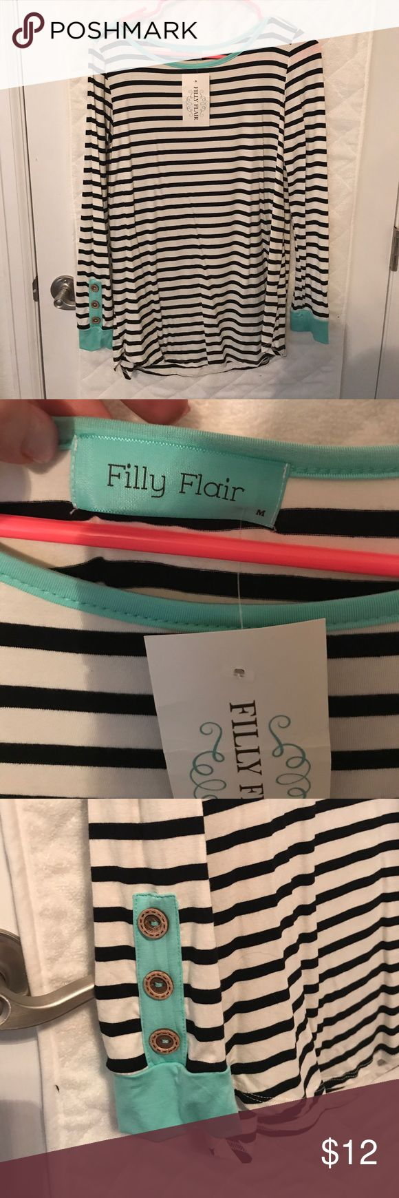 Cute striped top! New with tags from Filly Flair (a cute online boutique) very cute detail on the sleeve. Size medium. Filly Flair Tops Tees - Long Sleeve