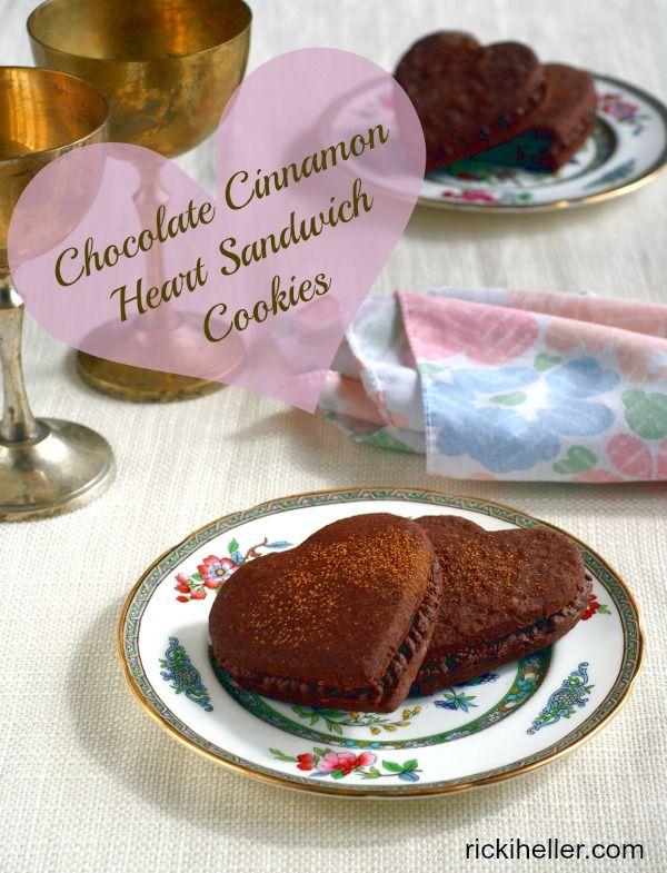 #GlutenFree #Vegan Chocolate Cinnamon Heart Sandwich Cookies for Valentine's Day