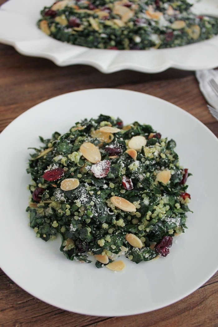 Kale Salad with Quinoa, Cranberries and Toasted Almonds | Recipe