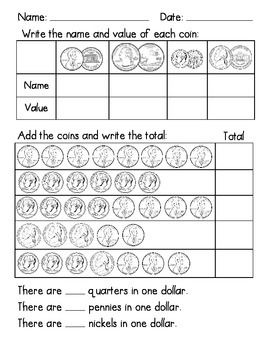 This assessment can be used to check students knowledge of the first grade common core math standards for money. 1.MD.2.a: Identify and combine values of money in cents up to one dollar working with a single unit of currency  a. Identify the value of coins (pennies, nickels, dimes, quarters).
