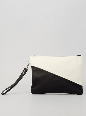 BLACK AND WHITE LEATHER PURSE MEDIUM Designed by Augusta Wind