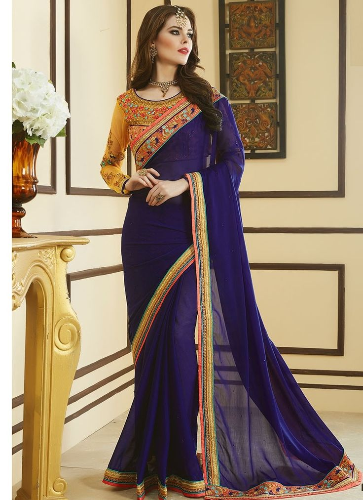 Shop Online Blue Georgette #DesignerSarees @Chennaistore.com