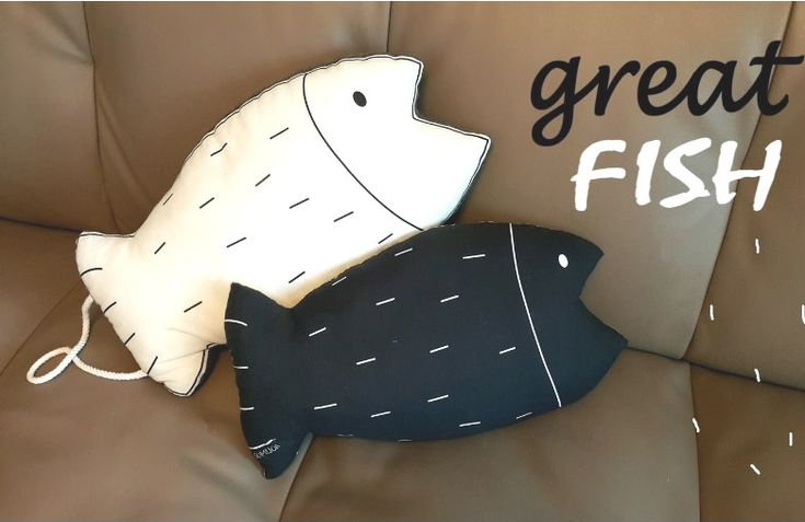 Decorative Pillow fish.  DIY step-by-step tutorial.  Pillow in the form of fish, pattern and instruction  - 1 of 2