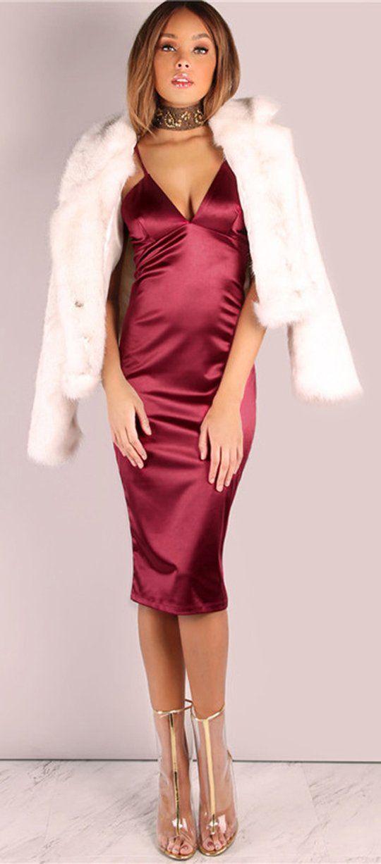 241755912f Fancy Outfit Ideas Satin Midi Dress Prom Evening Party Christmas New Years  Fashion Style Elegant Fancy - vestidos de fiesta elegantes ideas de  vestimenta ...