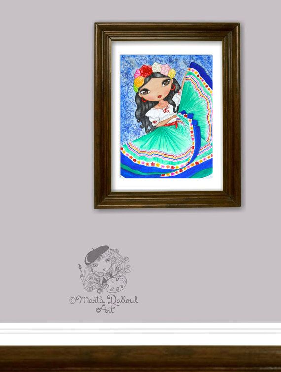 Mexican Girl Dancing art print. This is a print of my original watercolor painting titled Linda Señorita, It shows a mexican girl, in typical attire and dancing. I really love the colorful mexican culture and it inspired me to do this painting. It is one of the girls in my Girls Around