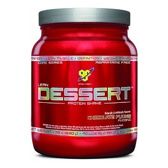 BSN Lean Dessert protein powder in Chocolate Fudge Pudding. Blend with water and ice for a post-workout shake that tastes just like a milkshake even without the extra calories and dairy.