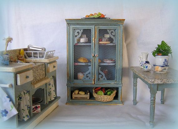 Dollhouse Kitchen Distressed Furniture by MiniAbuela on Etsy