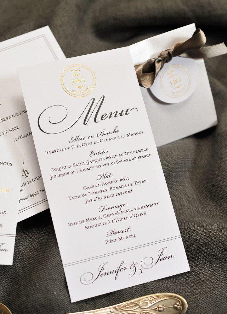 17 meilleures images propos de menus de mariage et d coration de table sur pinterest fait. Black Bedroom Furniture Sets. Home Design Ideas
