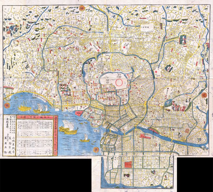 A map of Japanese homes encircling Edo castle to illustrate Tokugawa hegemony and space.