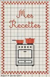 cuisine - kitchen - mes recettes - point de croix-cross stitch - broderie-embroidery- Blog : http://broderiemimie44.canalblog.com/