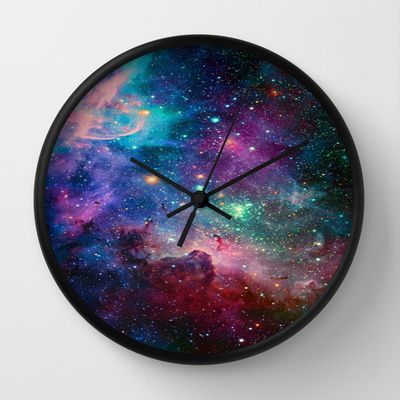 galaxy Wall Clock by Hadeel Alharbi - $30.00