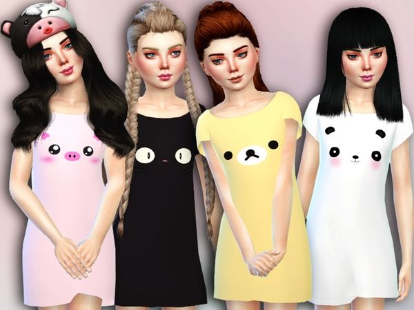The Sims Resource: Nuzzle Nightgown by Simlark • Sims 4 Downloads