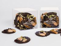 French Mendiants - Almonds, Raisins, Crystalised violets, Iranian pistachios in 58.8% couverture dark chocolate