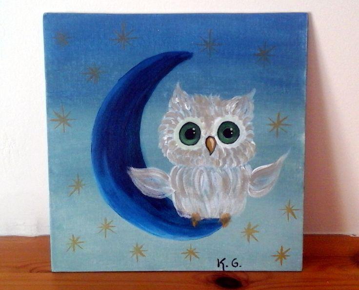 Night owl. Acrylic painting. by craftoholicsoul on Etsy