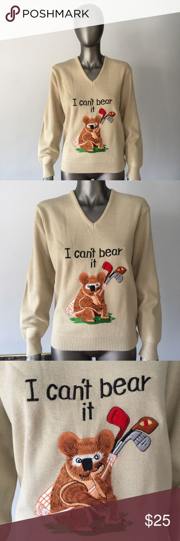"""VINTAGE Lady Lamode I Can't Bear It Sweater 90's VINTAGE Lady Lamode brand sweater with bear sitting chin in fist holding golf clubs. """"I Can't Bear It"""" embroidered on front. Tag says """"Lady Lamode // Active Sportswear // Los Angeles)  Size: XL (looks more like a loose-fitting small to a snug-fitting large)  APPROX MEASUREMENTS: 19"""" (front left armpit seam to front right armpit seam) 24.5"""" (top of shoulder to bottom hem of shirt)  CONDITION: Excellent Vintage  SHIPPING: In most cases, I ship…"""