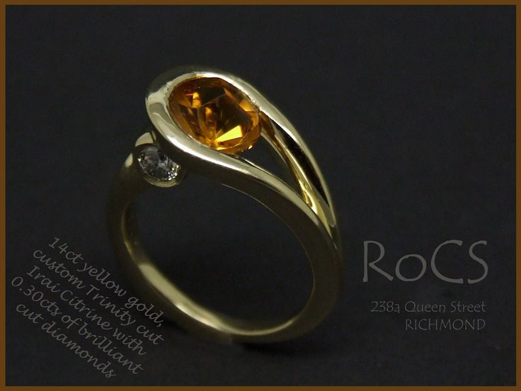 14 ct yellow gold, custom cut Iraqi citrine with round brilliant cut diamonds in under bezels
